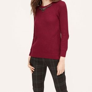 LOFT Jeweled Red Ribbed Sweater ~ NEW